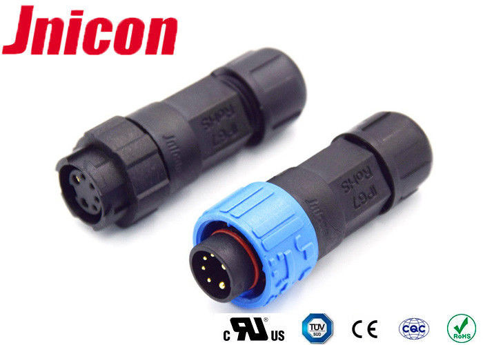 Blue And Black Color 10A Waterproof Connectors 10mΩ Max Contact Resistance