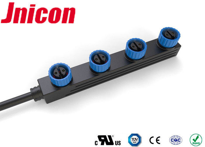 Jnicon LED Waterproof Power Connector , Waterproof M15 Connector 4 Way Parallel